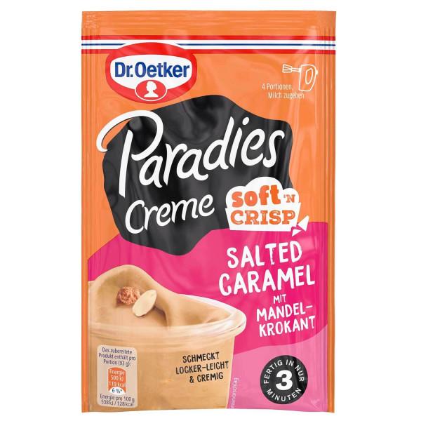 Paradies Creme Soft'n Crisp Salted Caramel-Pudding mit Mandelkrokant