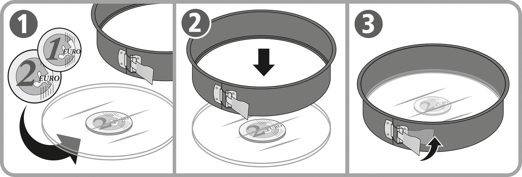 Tipp: Zum perfekten Einlegen des Bodens in den Springformrand legen Sie eine Münze unter den Glasboden.
