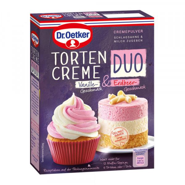 Tortencreme Duo Vanille-Geschmack & Erdbeer-Geschmack