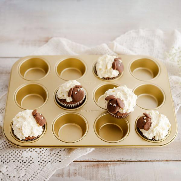 Muffinform goldfarben, 12er