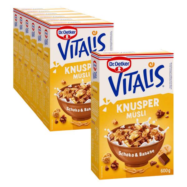 Vitalis Knuspermüsli Schoko+Banane 600g, 6er Pack + 1 gratis